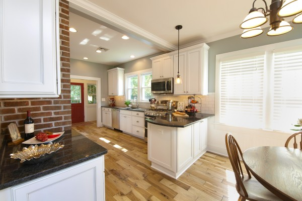 Transitional Kitchen with white color and exposed brick - kitchen remodel