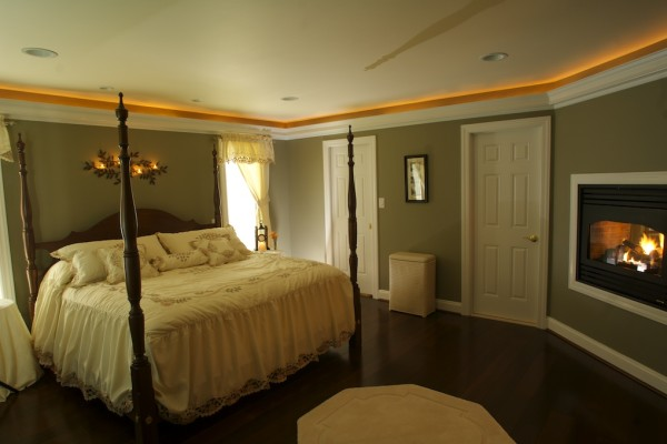 Master suite view of fire place - bathroom remodel with fire place